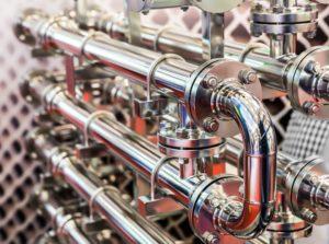 Steel water pipeline, metal fittings, closeup